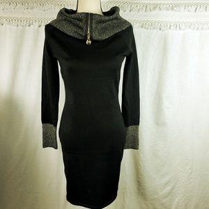 Say What? Black & Gold Metallic Sweater Dress!